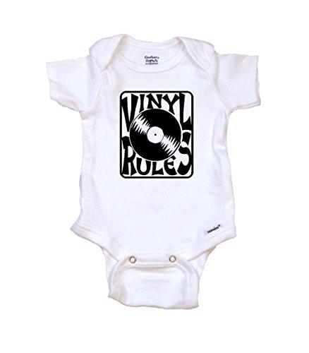 Artist Baby Onesie (Vinyl Rules Cool Baby Onesie by Gerber, 0-3 MO, Organic White)