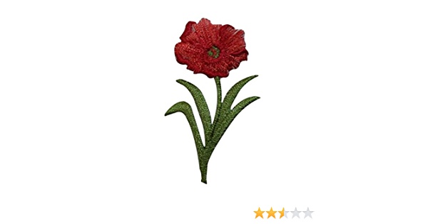 ID 6708 Red Poppy Blossom Patch Flower Garden Plant Embroidered Iron On Applique