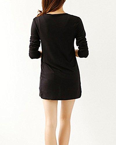 Noir Cardigans Longue Casual Boutons V Col Gilet Cardigan Avec Manche Femme qRtwvc4