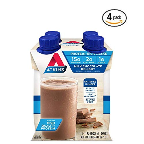Atkins Milk Chocolate Delight Shake, 11 fl oz, 4 Count (Ready to Drink) – 4 Pack