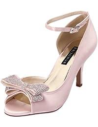 Women Comfortable Middle Heel Peep Toe Bows Rhinestones...