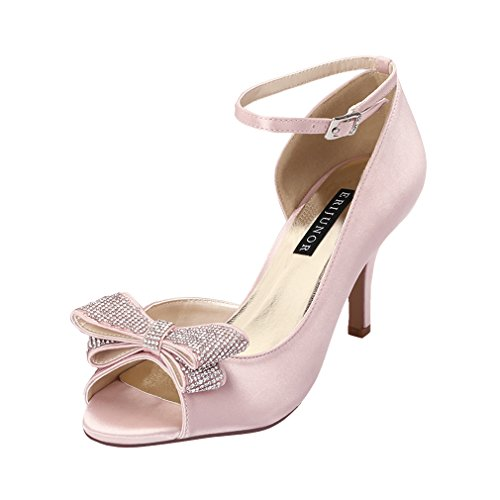 ERIJUNOR E1599 Women Comfortable Middle Heel Peep Toe Bows Rhinestones Satin Wedding Evening Party Shoes Blush US 7