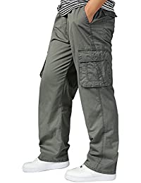 Men's Cargo Pants Elastic Waist Loose Cotton Casual Work Athletics Trousers