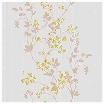 CASELIO Melody 60027008 \u2013 Papier Peint avec feuilles et fleurs romantiques  de couleur os, café