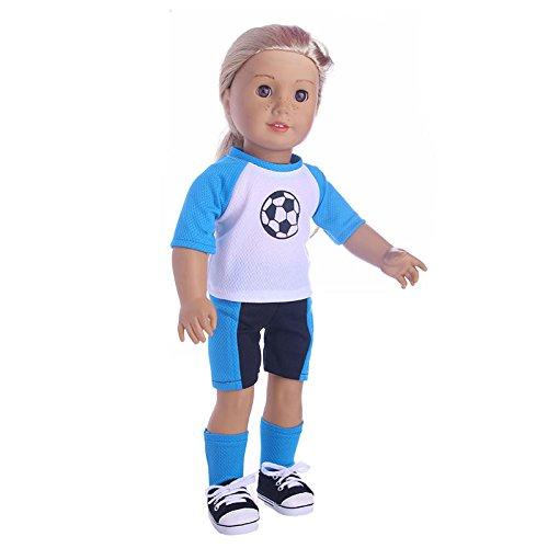 Bronze Healthy Cute Freckles Football Doll Girl, Sportswear for 18 inch Our Generation American Girl Doll (C)