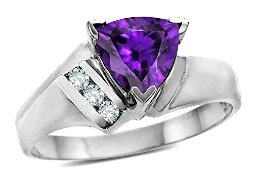 (Star K Genuine Amethyst Triangle Trillion 7mm Contemporary Modern Designer Ring 10 kt White Gold Size 7)