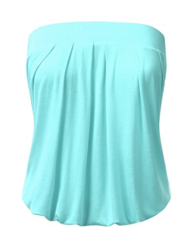DRESSIS Wowen's Solid Natural Pleated Tube Top SEAFOAM L