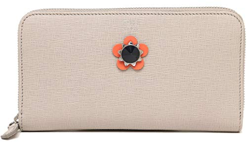 (Fendi Beige Leather Zip Around Long Wallet 8M0299 9PR)