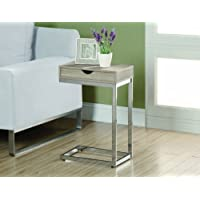 Natural Reclaimed-Look/Chrome Metal Accent Table