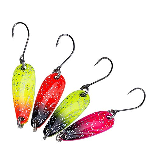 Jammas 4PCS 2.5g Fishing Metal Spoon baits Metal Spinner Lure Trout Spoon Mini Bait wobbler Artificial Spoon - (Color: 4PCS Mix Color) ()