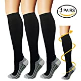 Copper Compression Socks For Men & Women-3 Pairs- For All Sports, Flight, Travel (Large/X-Large, Blcak-1)