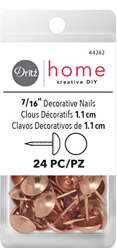 Dritz Home 44282 Smooth Decorative Nails, 7/16-Inch, Copper (24-Piece)