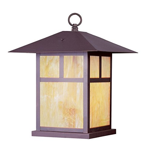 - Bronze 1 Light 150W Outdoor Pendant with Medium Bulb Base and Iridescent Tiffany Glass from Montclair Mission Series