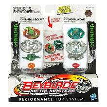 Beyblade Metal Fusion 2 Pack Solid Iron Showdown Thermal Lacerta and Thunder Leone by Beyblade