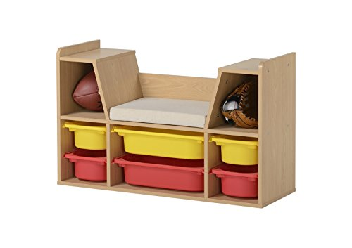 Homestar Z06873764 Kids' Storage Bench Toy, Natural Wood Finish