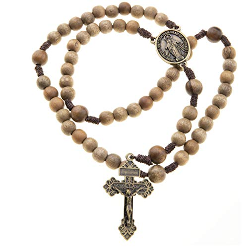 Catholic Brown Wood Rosary Beads 10mm 12mm Durable Cord Pardon Crucifix Miraculous -