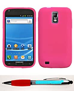 Accessory Factory(TM) Bundle (Phone Case, 2in1 Stylus Point Pen) SAMSUNG T989 (Galaxy S II) Solid Skin Cover (Hot Pink)