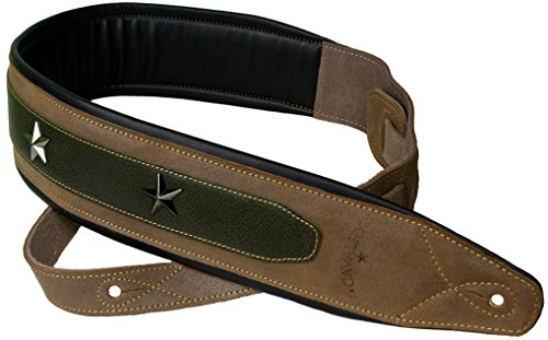 - Star Studded Brown Suede Wide Padded Leather Guitar & Bass Strap by Cavalry Straps