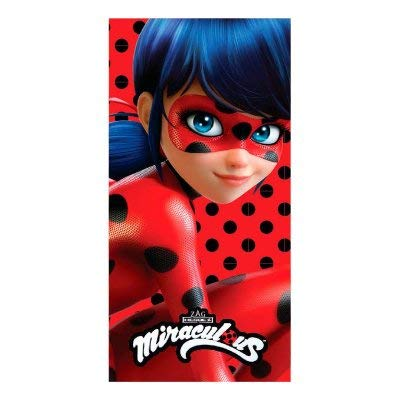 Beach Towel Lady Bug Miraculous Chat Noir microfiber Spots Kid Girl Red