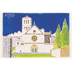 Hand Painted Assisi Bascilica Tile From Italy