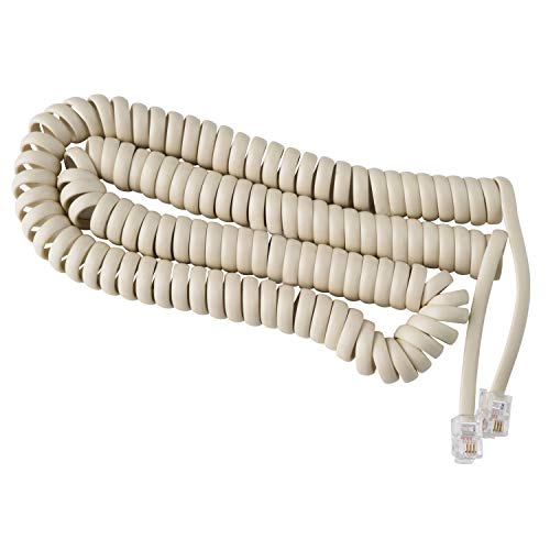 Telephone Cord Handset Curly - Phone Color Bone Ivory 15ft - Works on virtually All Trimline Phones and Princess Telephones