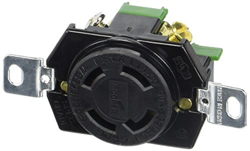 EATON L1430R 30-Amp 125/250-Volt Hart-Lock Industrial Grade Receptacle with Safety Grip, Black and White - Locking Receptacle