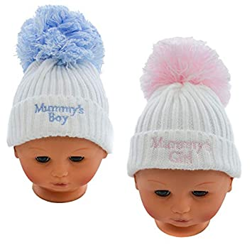 White//Pink Super Cute Cable Knit Pom-Pom Hat with Mummys Boy//Girl