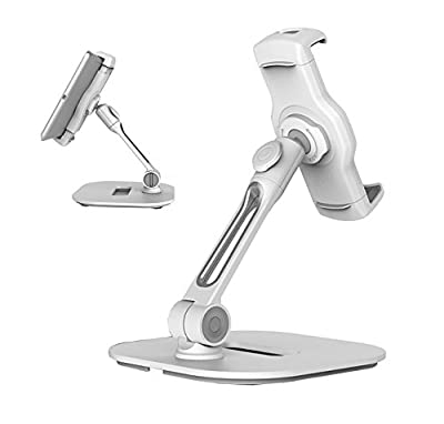 "AboveTEK Sturdy Desktop Tablet Stand, Cell Phone Stand, Compact 360° Swivel iPad & iPhone Mount Holder Fits 4-11"" Tablets/Smartphones For Kitchen Bedside Table Office Desk POS Kiosk Reception Showroom"