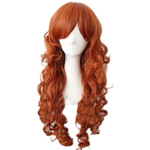 People Halloween Costumes Free (Bat Cosplay girl Wig Orange Long Curly Hair Anime Superhero Costume Props)