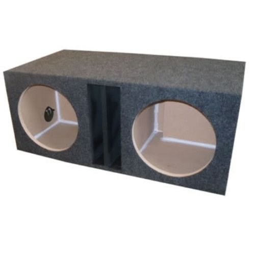 """R/T 800 Enclosure Series (838-12) - Dual 12"""" Slot Vented Sub Bass Hatchback Speaker Box with Labyrinth Power Port (Separate Chambers)"""