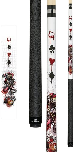 Players D-JS White with Jester on Pool Balls and Dripping Card Suits Cue, 19-Ounce