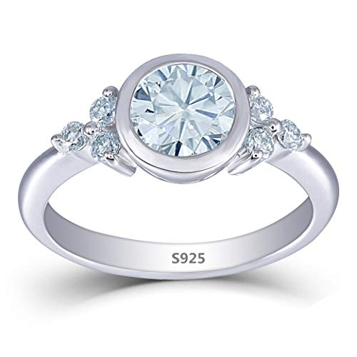 (DOVEGGS Platinum Plated Silver Center 1ct 6.5mm Moissanite Engagement Ring with Accents Bezel Setting for)