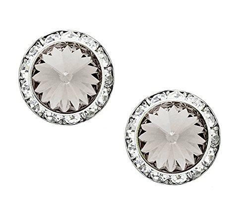 "Smoky Color Rivoli Cut Round Rhinestone Earrings, Clear Rhinestone Border, Post Back, 1/2"" Diameter (Rhinestones Crystal Aurora)"