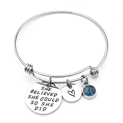 Liuanan She belived she could so she did Inspirational Bracelet Expandable Bangle Birthstone Stainless Steel Cuff (Blue Topaz - Dec) (Teen Girls Bracelets)