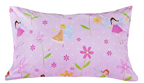 J pinno Flower Fairy Twin page Set for Kids Boys Girls Children100 Cotton Flat page Fitted page Pillowcase Bedding Set