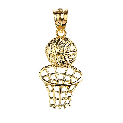 10k Yellow Gold Basketball Hoop Sports Charm Pendant - 10k Gold Basketball Pendant