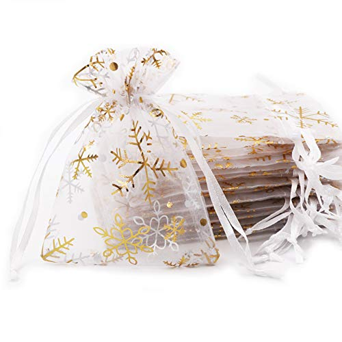 SumDirect 20Pcs 3.5x4.7 inches Sheer Drawstring Organza Jewelry Pouches Wedding Party Christmas Favor Gift Bags(White with Gold Snowflake) (Gift Snowflake)