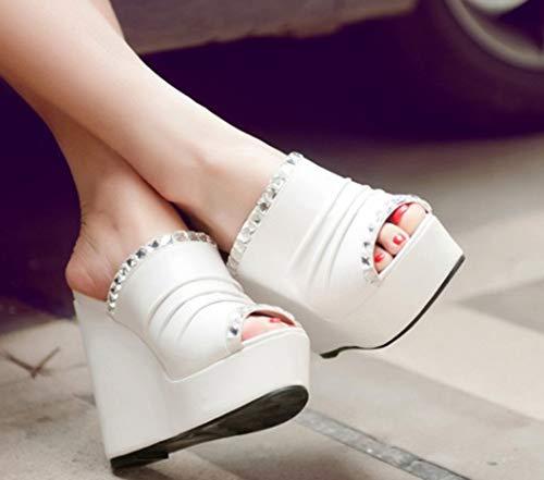 De Femme Strass Etincelante Blanc Bouche Plage Poissons Aisun Mules ApwqaZnSwW