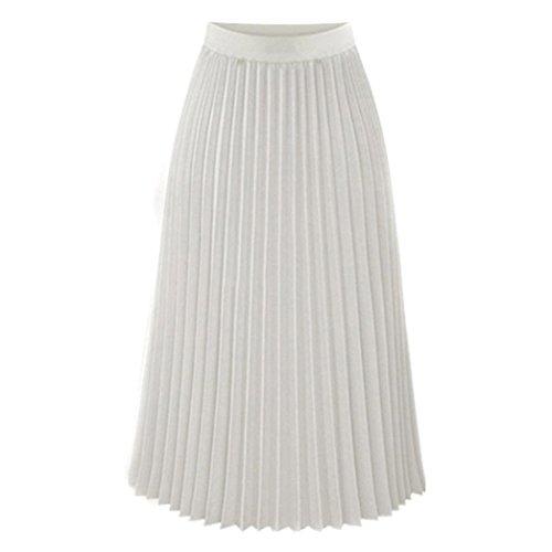Doux Automne SANFASHION Uni lgant Et Plisse Printemps Convient Jupe Midi Hiver lgant Chic Blanc Tissu Jupe rp0r7