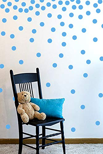 (The Open Canvas Wall Decal Dots (200 Decals) | Easy to Peel Easy to Stick + Safe on Painted Walls | Removable Vinyl Polka Dot Decor | Round Sticker Large Paper Sheet Set for Nursery Room (Light Blue))