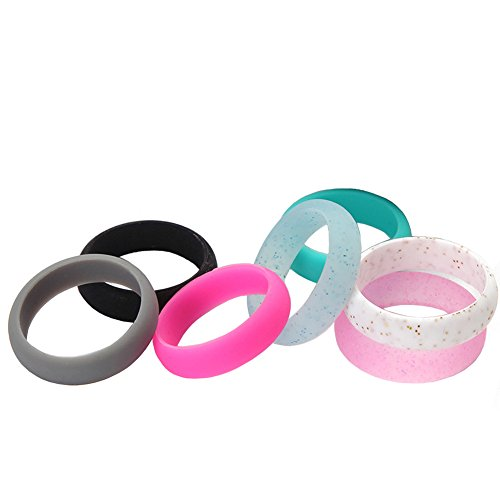 Silicone Wedding Ring for Women Comfort Fit Rings,Flexible Rubber Silicone Wedding Band,Outdoor Rings Great for Climbing, CrossFit, Gym, Electricians (7 pcs) (6.5-7(17.3mm)