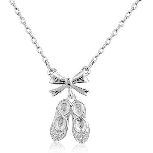Chuvora 925 Sterling Silver CZ Cubic Zirconia Ballerina Ballet Slippers Dancer Pendant Necklace, Adjustable