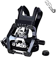 Haoliving SPD Pedals with Toe Clip and Straps Compatible with Shimano SPD Pedals Spin Bike Pedals Indoor Exerc