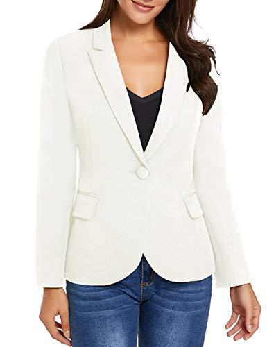 LookbookStore Women White Notched Lapel Pocket Button Work Office Blazer Jacket Suit Size S