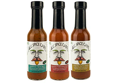Gourmet Hot Sauce Variety Pack -ALL SPICE CAFÉ - 1 Bottle of each flavor: Chipotle Garlic, Cayenne Habanero, & Caribbean Spice, Perfect Gift, Each Bottle is 5 ounces (Pack of 3) 3 Pack Hot Sauce