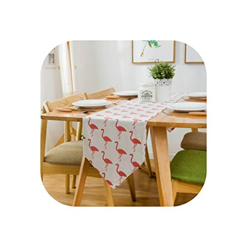 Wenzi-day New 1PC Fresh Green Cactus/Red 30220cm Multi Size Home Dinner Table Decoration Rectangle Cotton Linen Table Runner,30x180cm,Red Flamingo]()