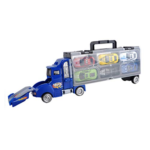 Gbell  Transport Car Carrier Truck Container Truck Model with Sliding Cars Construction Truck Vehicle Container Miniature Car Vehicles Toy for Toddlers Boy Baby Boys ()