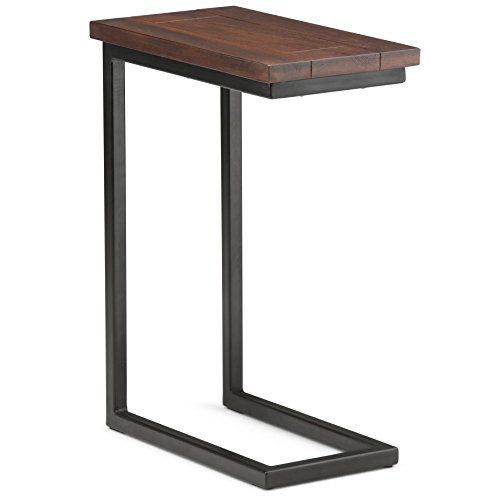 Simpli Home 3AXCSKY-09 Skyler Solid Mango Wood and Metal 18 inch Wide Rectangle Industrial C Side Table in Dark Cognac Brown, Fully Assembled