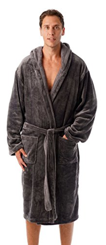 #followme Ultra Soft Velour Robe Robes for Men 46904-GRY-L Charcoal Grey