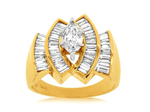 Milano Jewelers 1.50CT Marquise & Baguette Diamond 14KT Yellow Gold 3D Engagement Ring ()